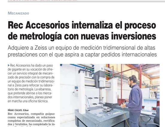REC ACCESORIOS INTERNALIZA EL PROCESO DE METROLOGÍA CON NUEVAS INVERSIONES
